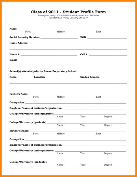 Student Profile Template 9 student profile template biology resume
