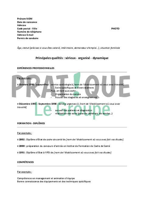 Lettre De Motivation De Cadre Mod 232 Le De Cv Pour Un Emploi De Cadre Infirmier Confirm 233 Pratique Fr