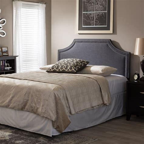 nailhead upholstered headboard avignon fabric upholstered headboard nailhead gray