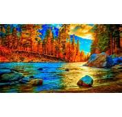 Awesome Autumn  River Background Hd Desktop Wallpaper