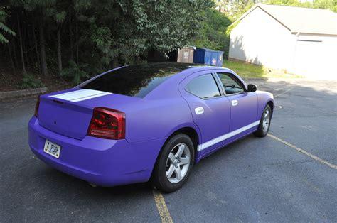 matte purple charger w white racing stripes car skins