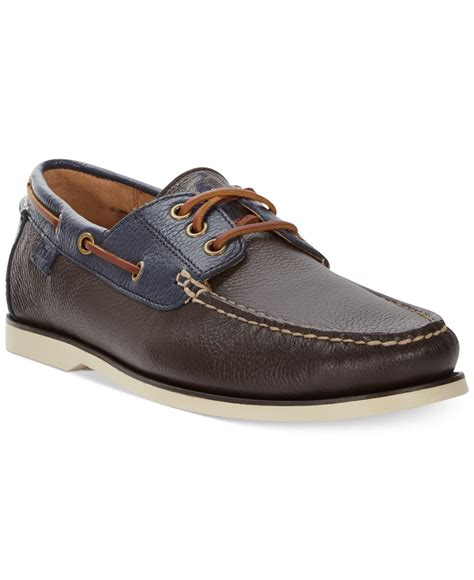 polo ralph bienne tumbled leather boat shoes in