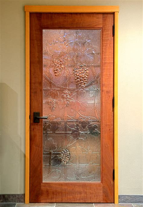 Reclaimed Glass Doors Wine Room Door Slumped Recycled Glass