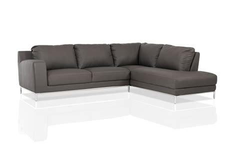 Grey Leather Sectional With Chaise divani casa primrose modern grey eco leather sectional