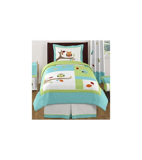 turquoise twin bedding sweet jojo designs hooty turquoise lime twin bedding set