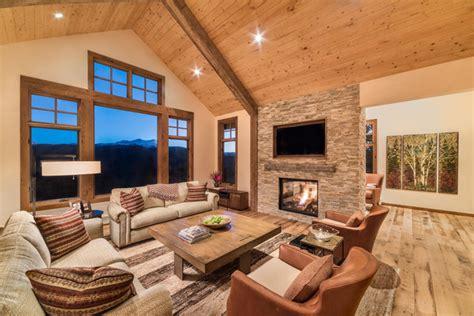 great room  addition rustic living room denver