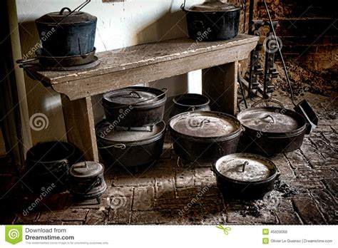 www kitchen collection com vintage cast iron pots and pans in antique kitchen stock