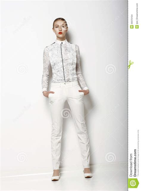 To Trendy White high fashion trendy in white breeches in graceful