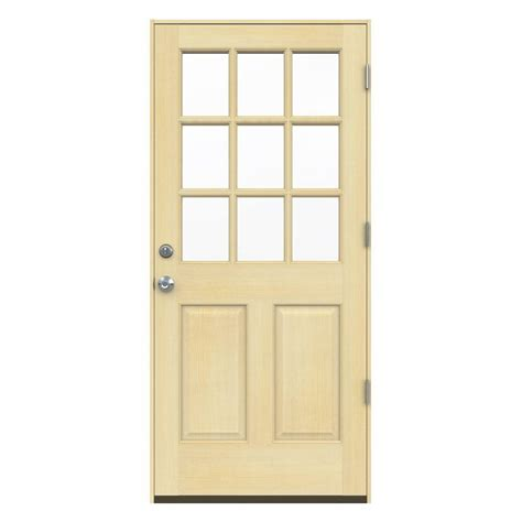 Jeld Wen 32 In X 80 In Fan Lite Unfinished Fir Wood 9 Lite Exterior Door