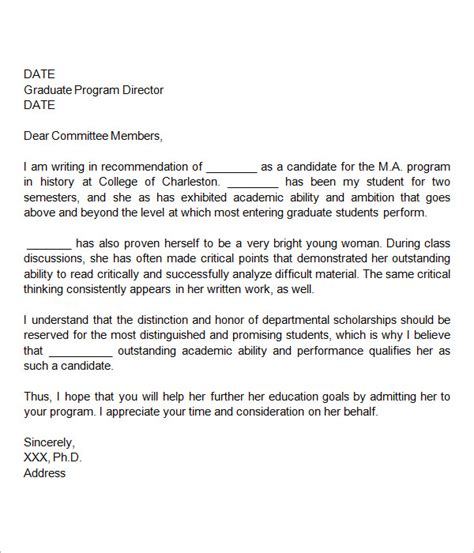 Recommendation Letter Grad School Exle Letters Of Recommendation For Graduate School 15