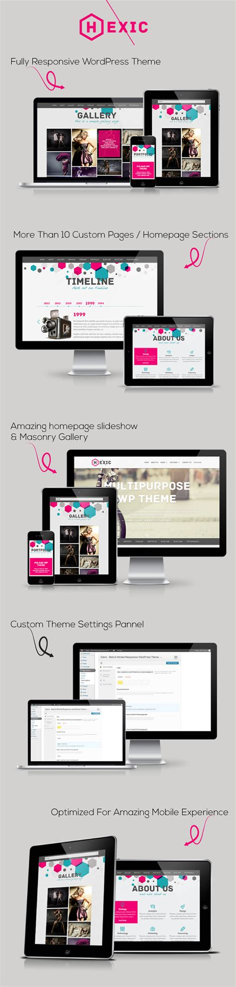 theme wordpress one page responsive hexic multipurpose one page responsive wp theme on behance