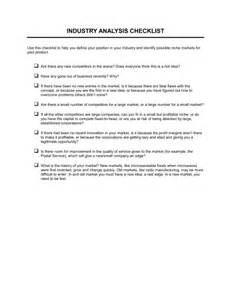 Industry Report Sample Checklist Industry Analysis Template Amp Sample Form