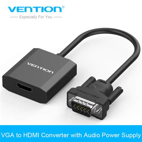 Hdmi To Vga With Audio Cable Hd Basic aliexpress buy vention vga to hdmi converter cable adapter with audio 1080p vga hdmi