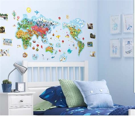 giant wall stickers for kids bedroom aliexpress com buy large cartoon world map wall stickers