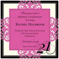 decorative square border pink 21st birthday invitations paperstyle