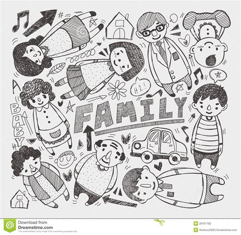 doodle family doodle family element stock photography image 29197182