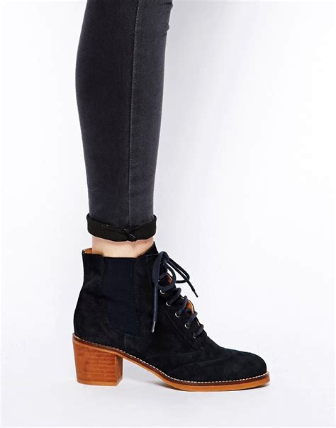 bertie bertie pontins navy suede lace up ankle boots at asos