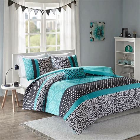 Teal Bedding by Modern Polka Dot Zebra Animal Stripe Cheetah Teal Blue