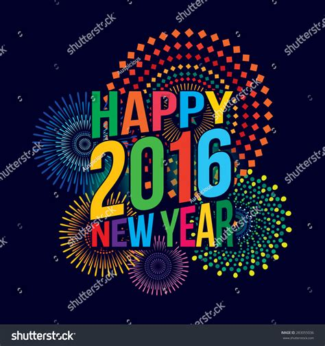 themes new year 2016 vector illustration of colorful fireworks happy new year