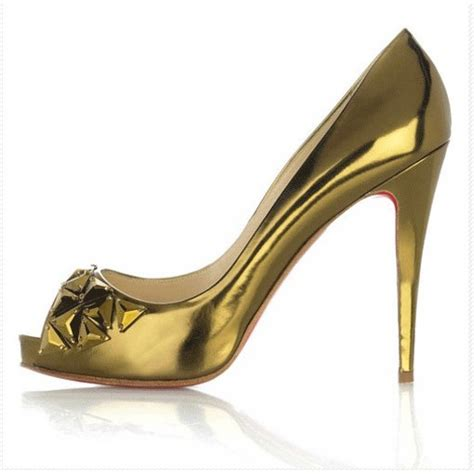 gold high heel pu peep toe platform pumps studded gold high heel shoes