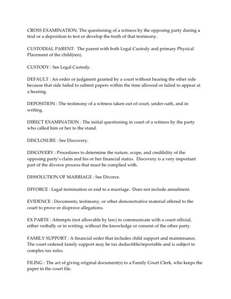 witness statement template family court divorce and family glossary