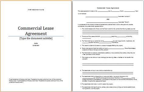 ms word commercial lease agreement template word