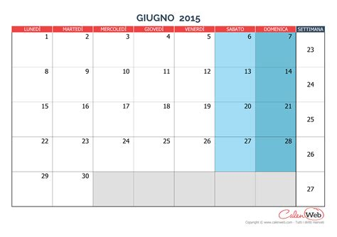 Calendario Giugno 2015 Calendario Mensile Mese Di Giugno 2015 Versione Vergine