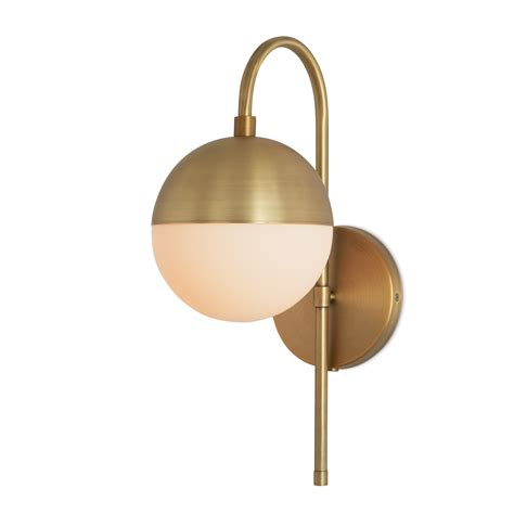 Brass Wall Sconce Lights Wall Sconces Powell Wall Sconce With Hooded White Globe Aged Brass