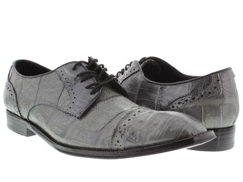 s dress shoes gray genuine crocodile alligator skin