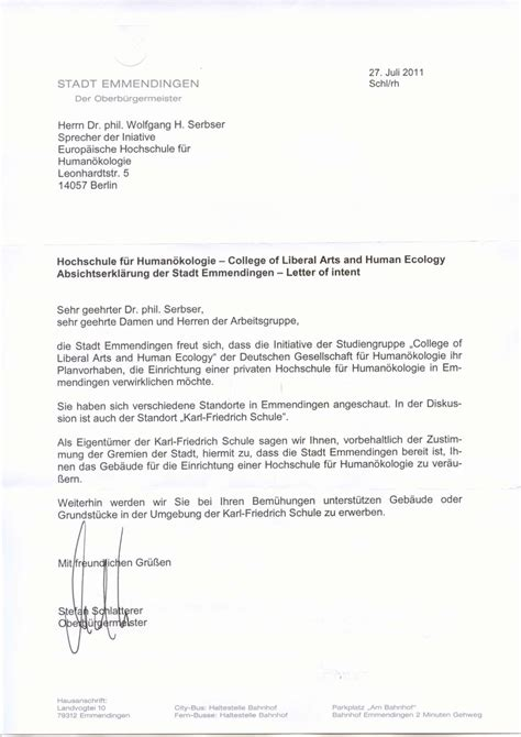 Letter Of Intent Doctor Absichtserkl 228 Rung