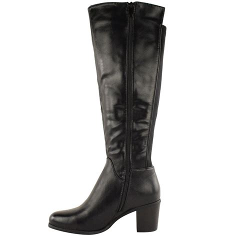 high heeled wide calf boots womens wide leg knee high mid calf block heel