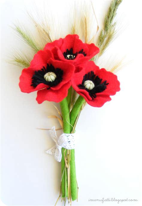 fiori di feltro come fare spiegazioni come fare papaveri in feltro cartamodello