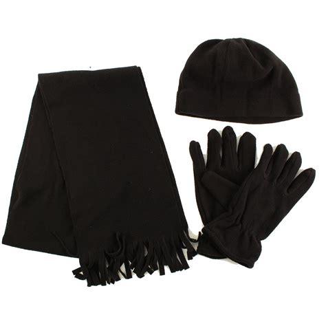 winter s 3pc fleece set beanie cap hat gloves fringe
