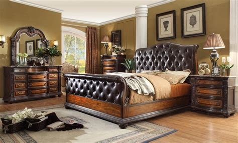 bedroom sets with marble tops angelina antique brown button tufted leather bedroom set 18205 | antoinette antique brown tufted leather bed traditional bedroom set w marble tops 28