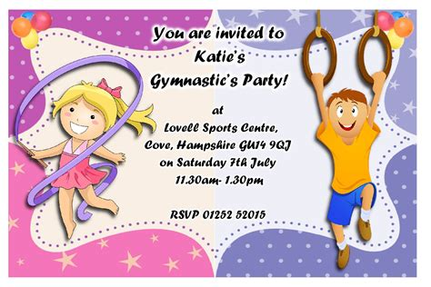 birthday invites gymnastics invitations