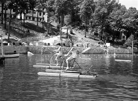 central park paddle boats water biking circa 1955 vintage everyday