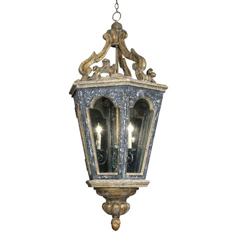 Harrietta French Charcoal Gold Carved Lantern Pendant Lantern Chandeliers