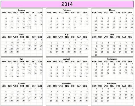 printable calendar 2014 monday start yearly 2014 printable calendar color week starts on monday