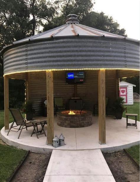 grain bin gazebo rustic outdoor structures outdoor