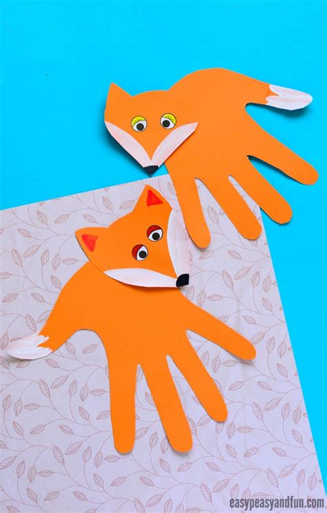 fox crafts for handprint fox craft easy peasy and