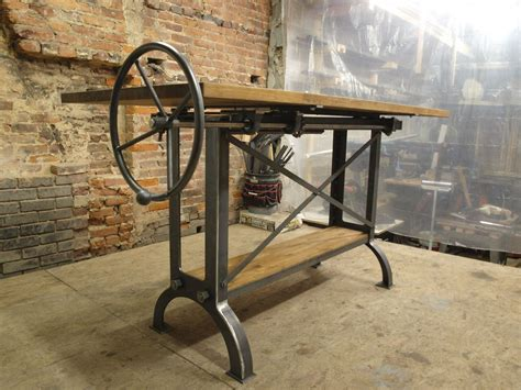 Custom Stand Up Industrial Drafting Table With Oak Top By Custom Drafting Table