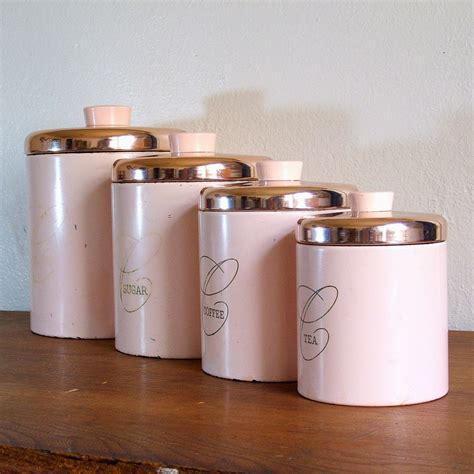 kitchen canisters sets pink metal ransburg kitchen canister set by tagsalefinds