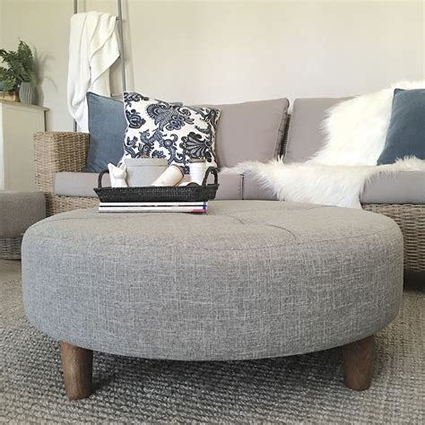 large grey tufted ottoman fabric coffee table