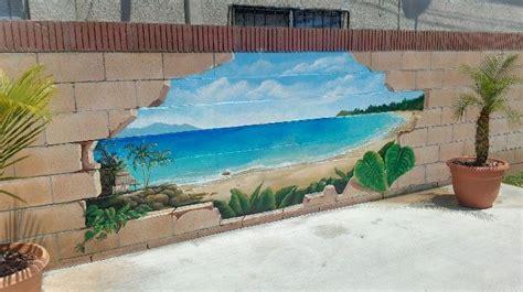 Outdoor Wall Murals Ideas Outdoor Broken Cinder Block Beach Scenery Mural Idea As