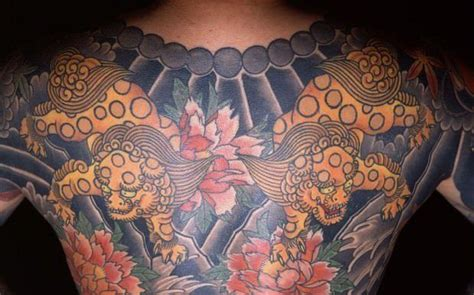 japanese yakuza tattoo a yakuza member wears a of shisa a cross