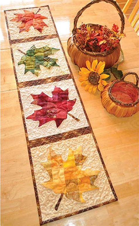 Leaf Pattern Table Runner | micro safe hot holders sewing pattern leaf table