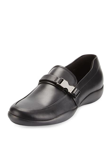 prada mens loafer prada buckled loafer in black for lyst