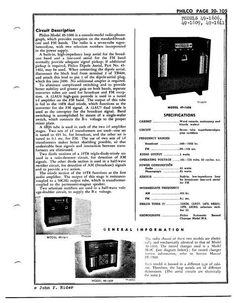Philco Radio & Television Corp. 49-1609   Antique