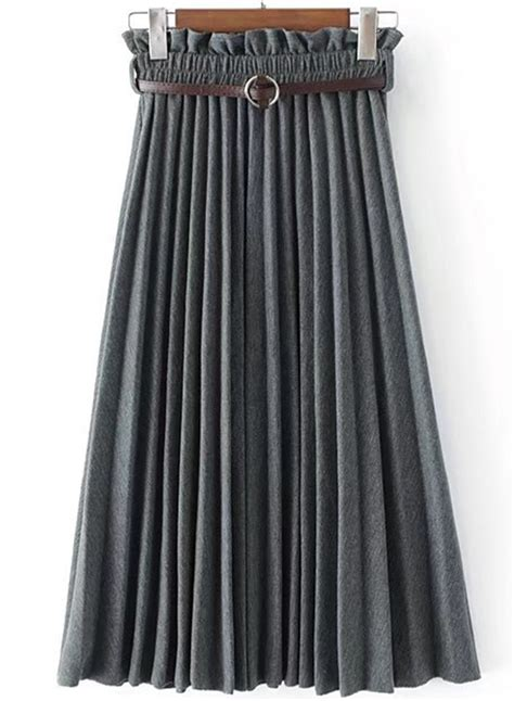 s fashion high waist pleated maxi skirt with belt