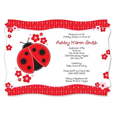 Ladybug Baby Shower Invitations by Modern Ladybug Personalized Baby Shower Invitations